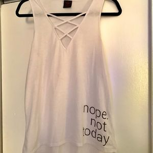 """Material Girl Tops - White Tank Top that reads """"Nope Not Today"""""""